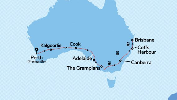 Adelaide & Brisbane Sojourn with Indian Pacific & Great Southern from Perth