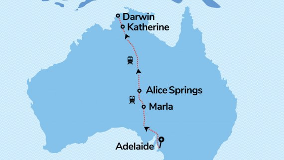 The Ghan in Platinum Service with FREE stay in Adelaide & Darwin