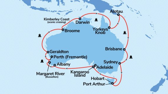Round Australia with Sapphire Princess from Perth
