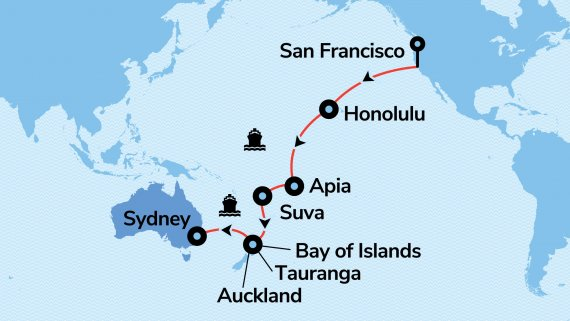 Luxury Cunard Cruise from San Francisco to Sydney Cruise and Stay