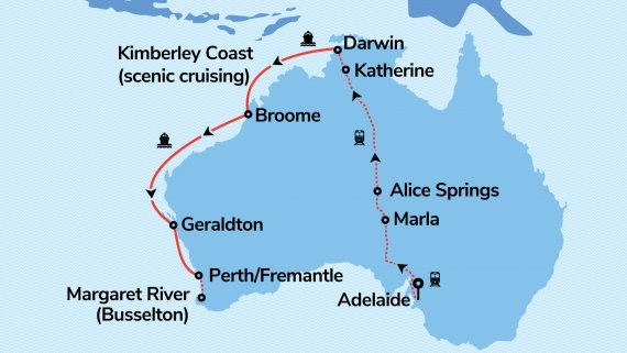 Adelaide, Top End & The Kimberley with Sun Princess & The Ghan