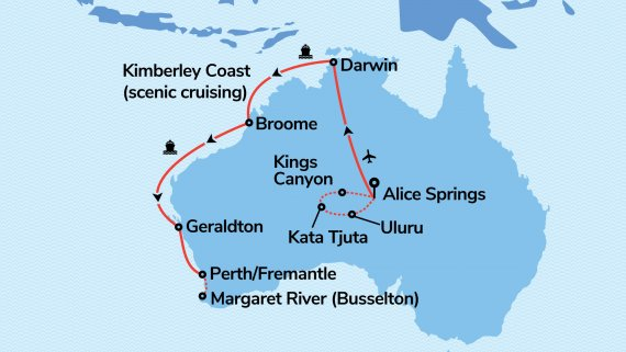 Red Centre, Field of Light, Top End & Perth with The Kimberley & Sun Princess