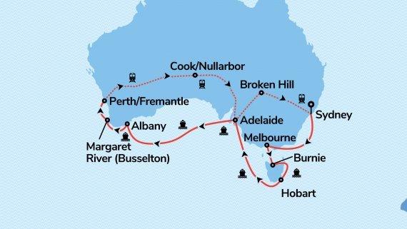 Best of the South from Coast to Coast with Sea Princess & Indian Pacific