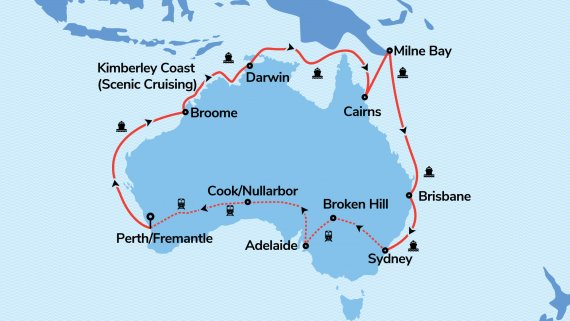 Coast to Coast, Kimberley Cruising & PNG with Sea Princess & Indian Pacific