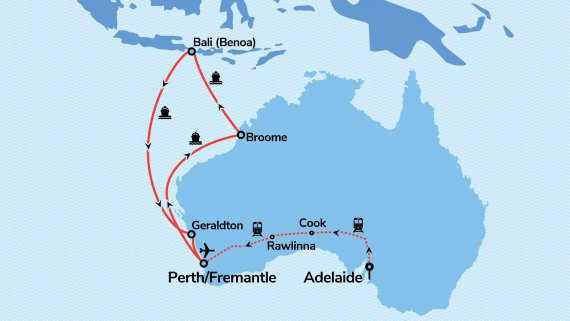 Perth, Bali & Treasures of the Northwest with Vasco da Gama & Indian Pacific ex ADL