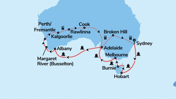 Southern Australia Coast to Coast with Sea Princess and Indian Pacific