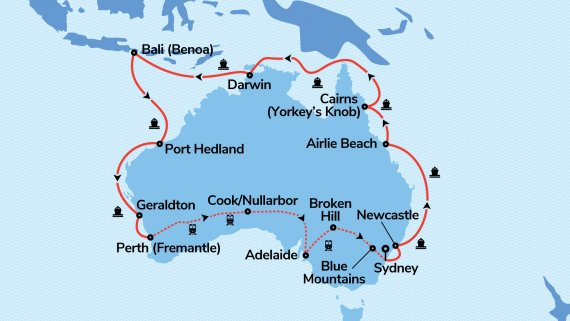 Coast to Coast and Best of the West Serenade of the Seas & Indian Pacific