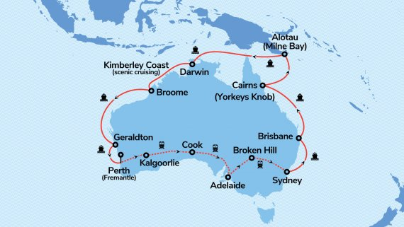 Top End Coast to Coast with Sapphire Princess & Indian Pacific ex PER