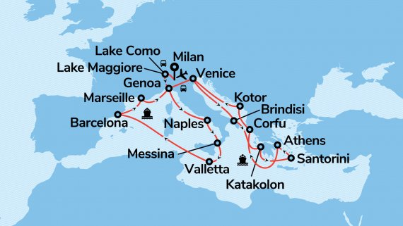 Mediterranean Discovery with Italian Lakes & Villas