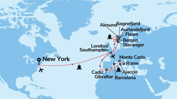 2 Queens New York to London with Norway & the Mediterranean Adventure