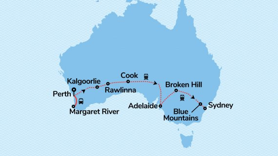 WA Wine, Wildflowers & Rottnest Island with Indian Pacific from Perth to Sydney