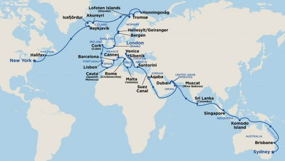 World Cruise Liner - Sydney to New York with Sea Princess